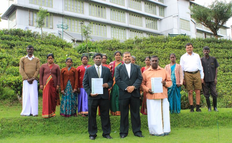 Heritance Tea Factory team with the organic certification